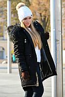 Зимняя женская черная куртка парка на меху (черная лама)