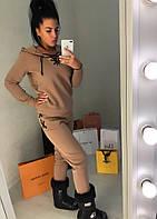 Женский трикотажный костюм с капюшоном и шнуровками на брюках и кофте Батал, фото 1