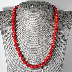 Червоний корал, Ø8 мм, намисто, 124ОК