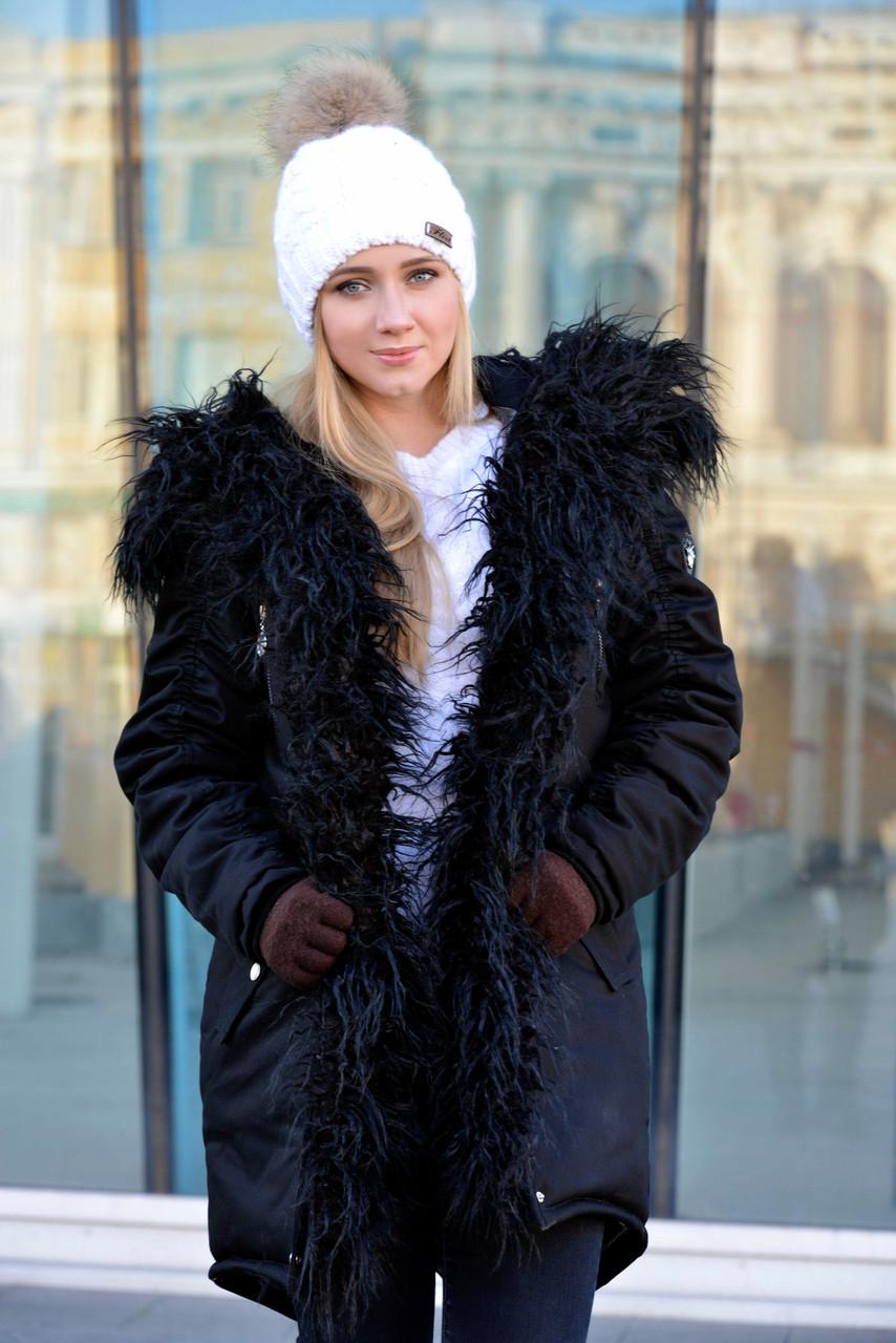 Черная зимняя женская куртка парка на меху (черная лама)