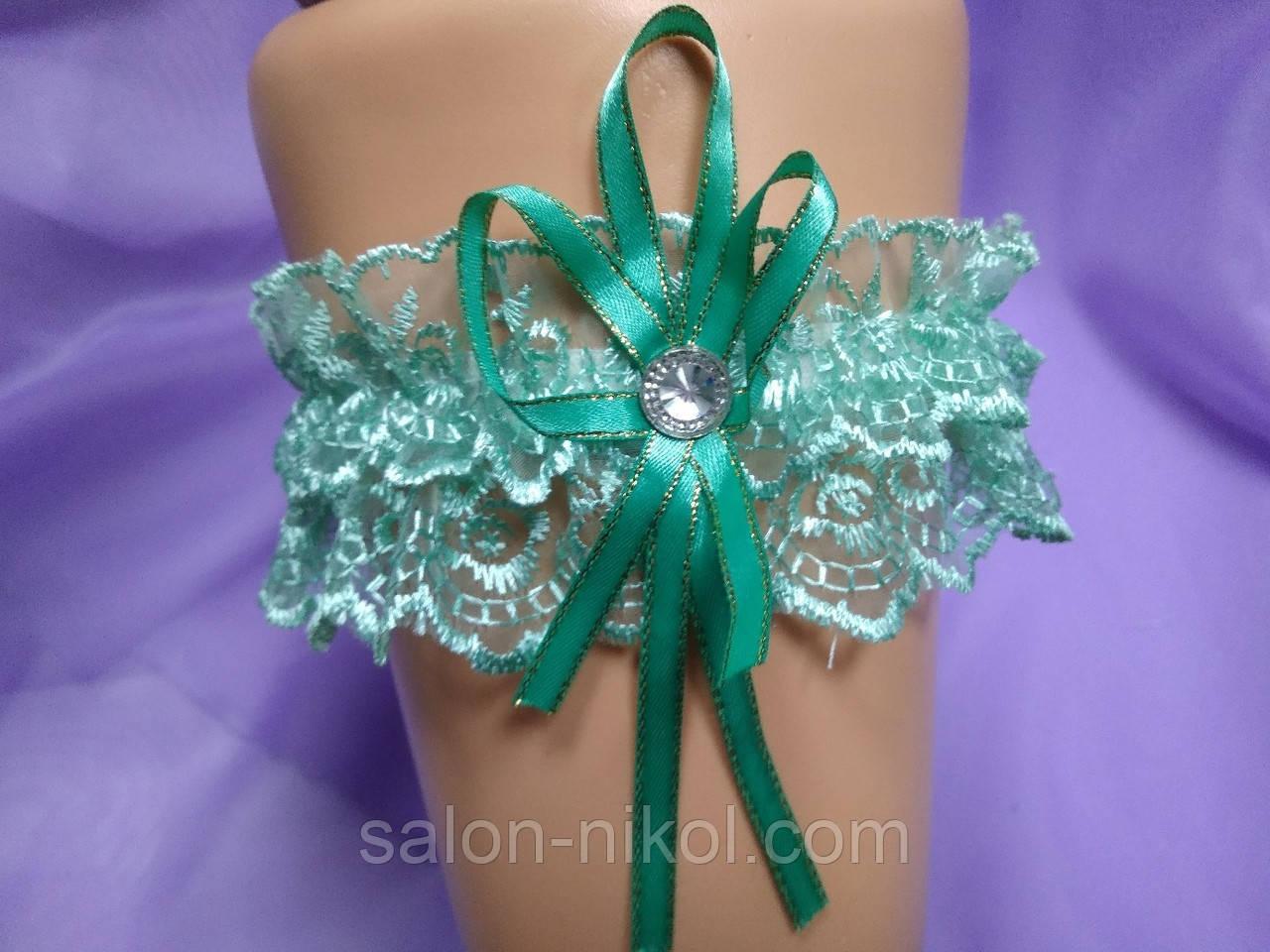 Подвязка для невесты кружевная мята