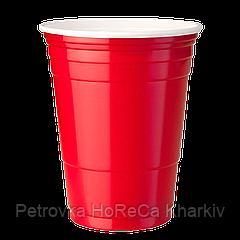 """Стакан пластиковый PS """"Huhtamaki"""" 400мл 50шт/уп  Красный"""