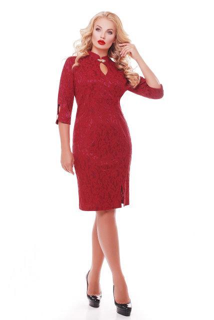 Женское коктейльное нарядное платье Лира размер 54,56,58 / цвет бордо большие размеры