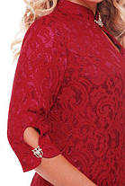 Женское коктейльное нарядное платье Лира размер 54,56,58 / цвет бордо большие размеры, фото 3