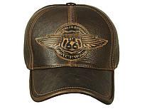 Бейсболка мужская кожаная коричневая Airborne Apparel ROUTE-66-1