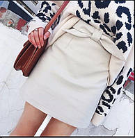 Женская  кожаная юбка стильная ( черная и светло бежевая), фото 1