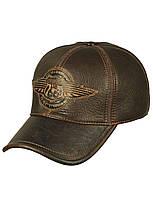 Бейсболка мужская кожаная коричневая Airborne Apparel ROUTE-66-1 56