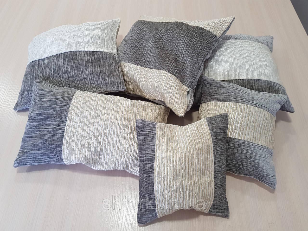 Комплект подушек рельефные серые с бежем, 6шт
