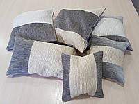 Комплект подушек рельефные серые с бежем, 6шт, фото 1