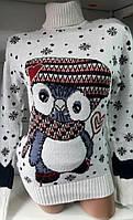 Свитер под горло с пингвином/ снежинками женский (шерсть/ акрил), фото 1