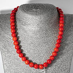 Червоний корал, Ø9,5 мм., намисто, 126ОК