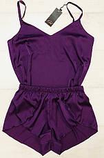 Нежный шелковый комплект майка и шортики  размер 48-50, фото 2