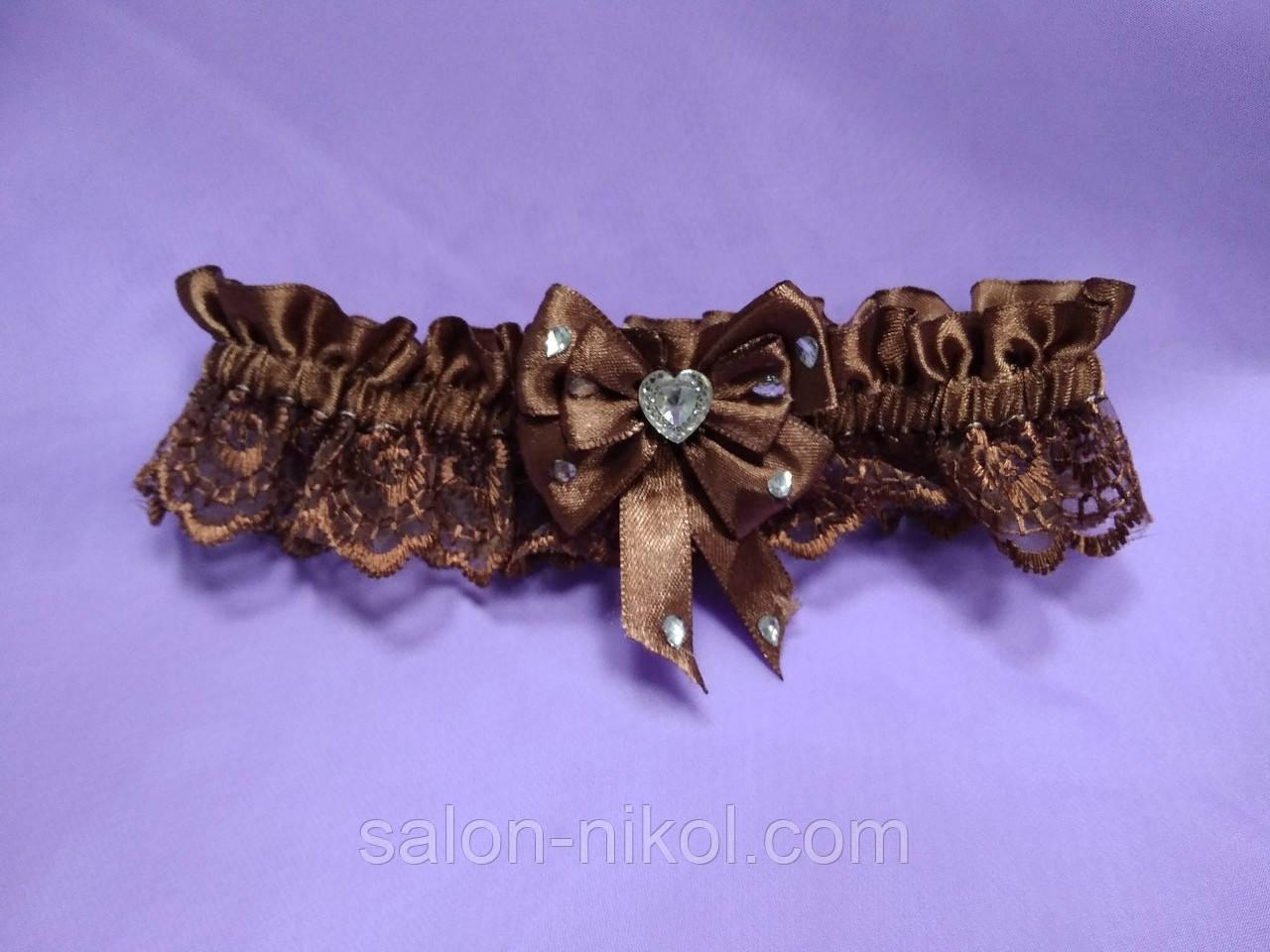 Подвязка для невесты кружевная шоколад
