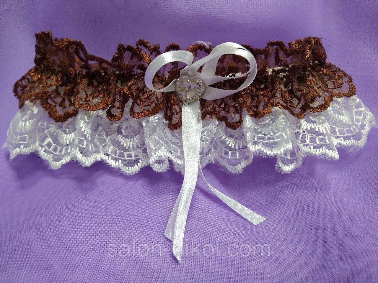 Подвязка кружевная шоколад