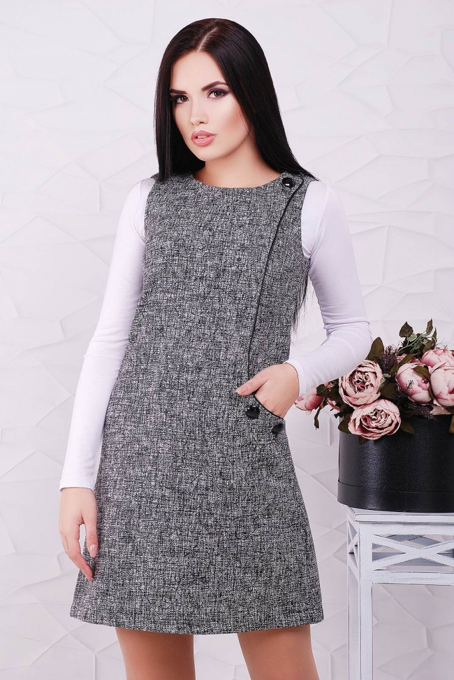 """Стильне короткий твідове сукня без рукавів """"Leonora"""" сніжинка чорна"""