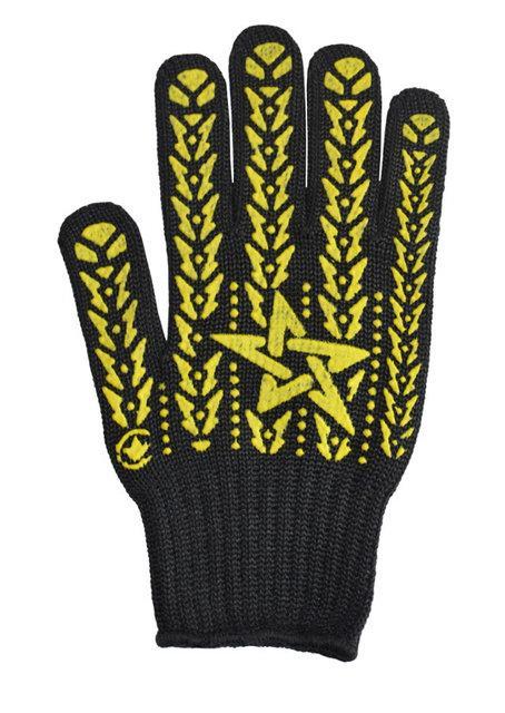 Перчатки черные с желтой звездой ПВХ 7клас 562