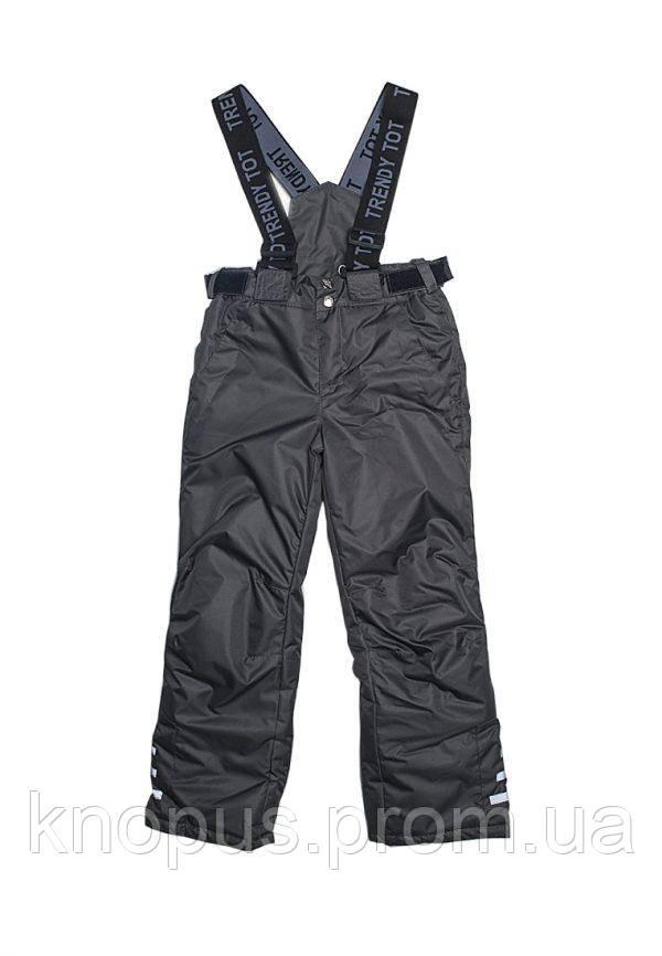 Зимние брюки на бретелях (черные), Модный карапуз, размеры 110-134
