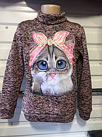 Детский теплый свитшот для девочки Кошка 6-12 лет фрез