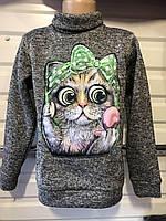 Детский теплый свитшот для девочки Кошка 6-12 лет серый