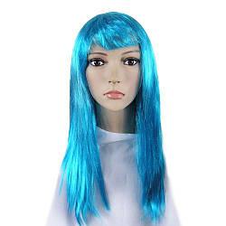 Карнавальный парик прямой голубой