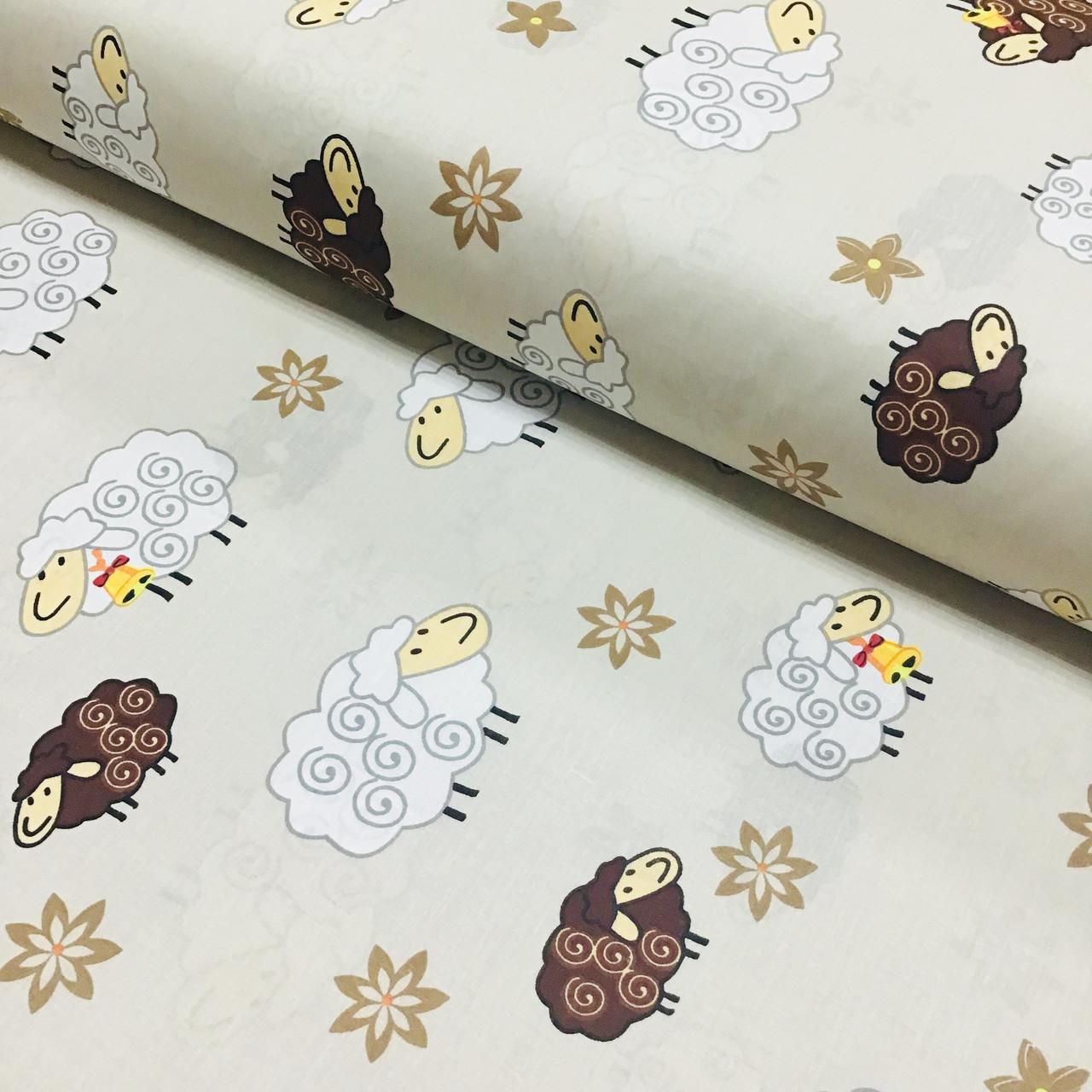 Ткань хлопковая бязь бело-коричневые барашки на бежевом (шир. 2,2 м)