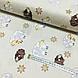 Ткань хлопковая бязь бело-коричневые барашки на бежевом (шир. 2,2 м), фото 3