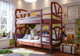 Ліжко двоярусне в дитячу кімнату з дерева Вікторія трансформер 80 ДОК