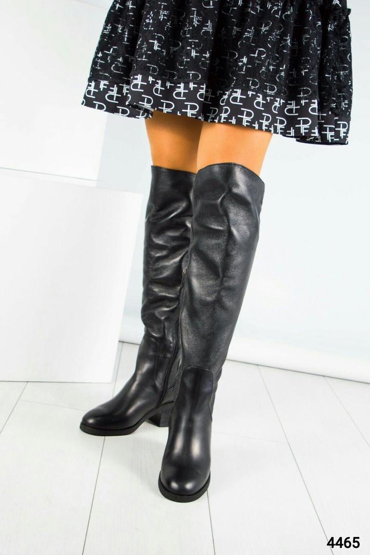 Ботфорты женские  черные с ремешком