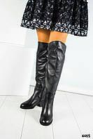 Ботфорты женские  черные с ремешком, фото 1
