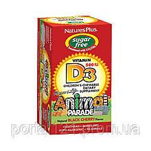 Вітамін D3 для Дітей без Цукру, Animal Parade, Natures Plus, 90 жувальних таблеток