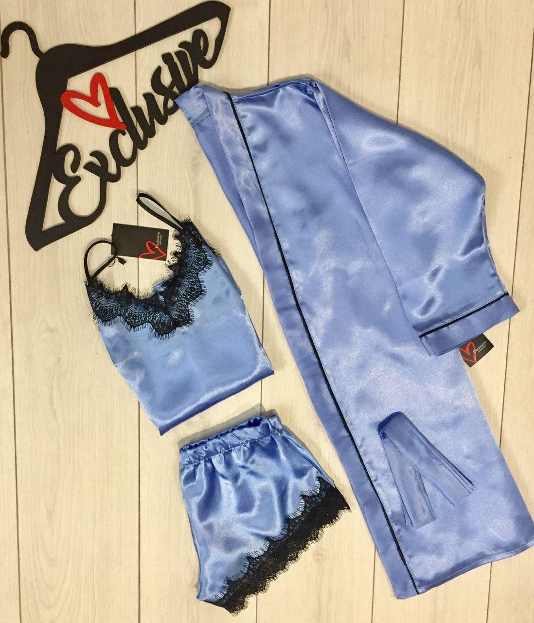 Атласный комплект для дома 007-017, женский халат + майка и шорты.