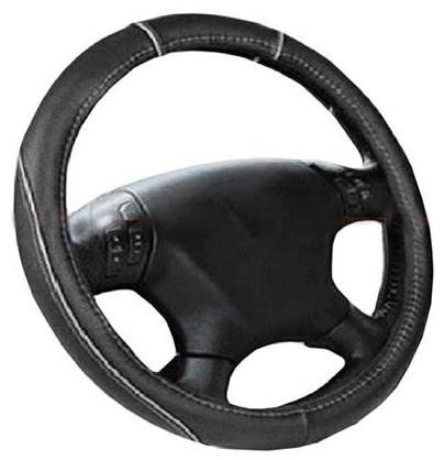 Чехол на руль черный с серой нитью размер М Elegant Plus EL 105400