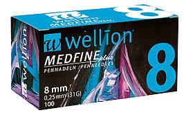 Иголки для инсулиновых шприц-ручек Wellion 0,25 мм (31G) × 8 мм №100