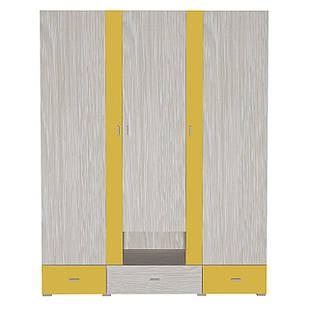 Шафа в дитячу кімнату з ДСП/МДФ AXEL A Blonski 3-х дверна атланта+жовтий