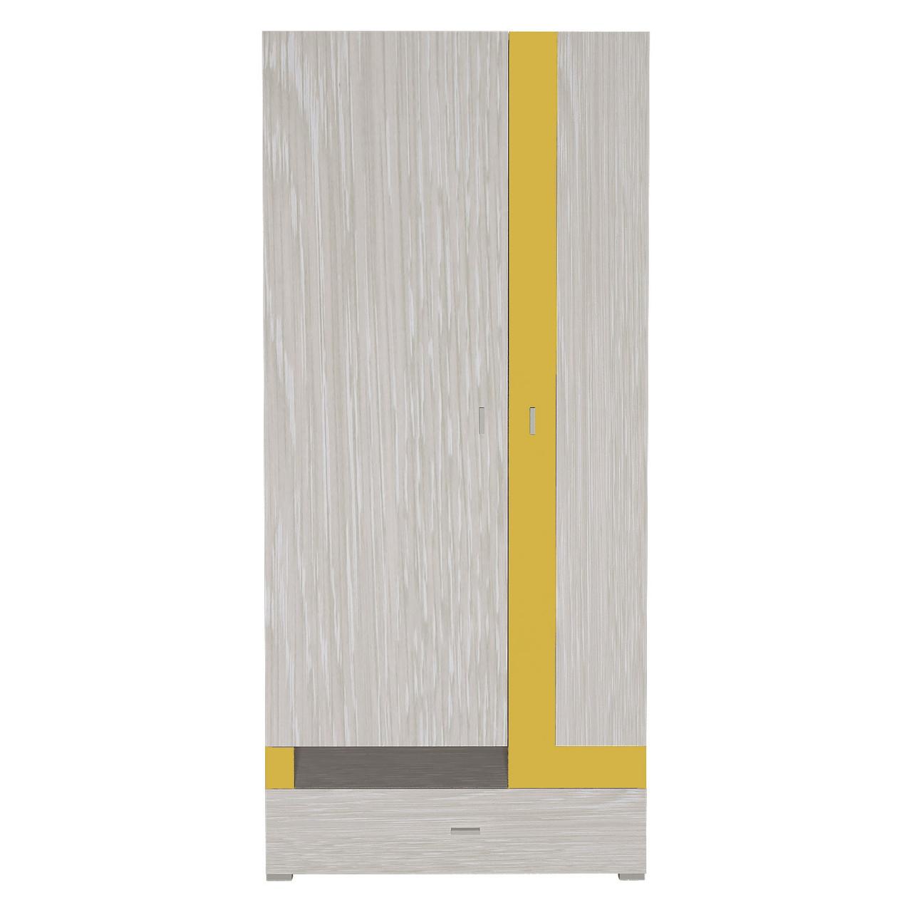 Шафа в дитячу кімнату з ДСП/МДФ AXEL C Blonski 2-x дверна атланта+жовтий