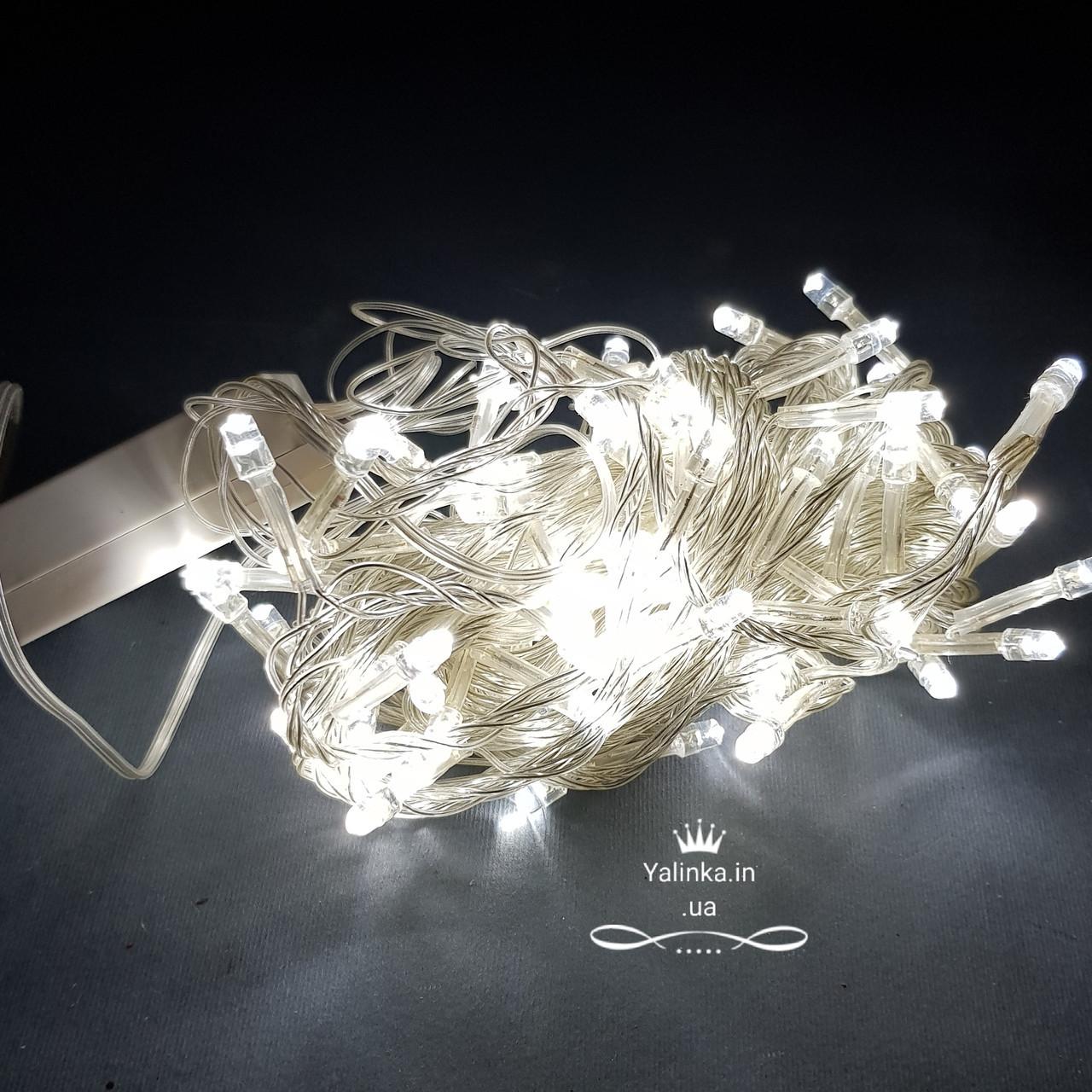 Гирлянда электрическая черный провод  LED  200 новогодняя белая   LED