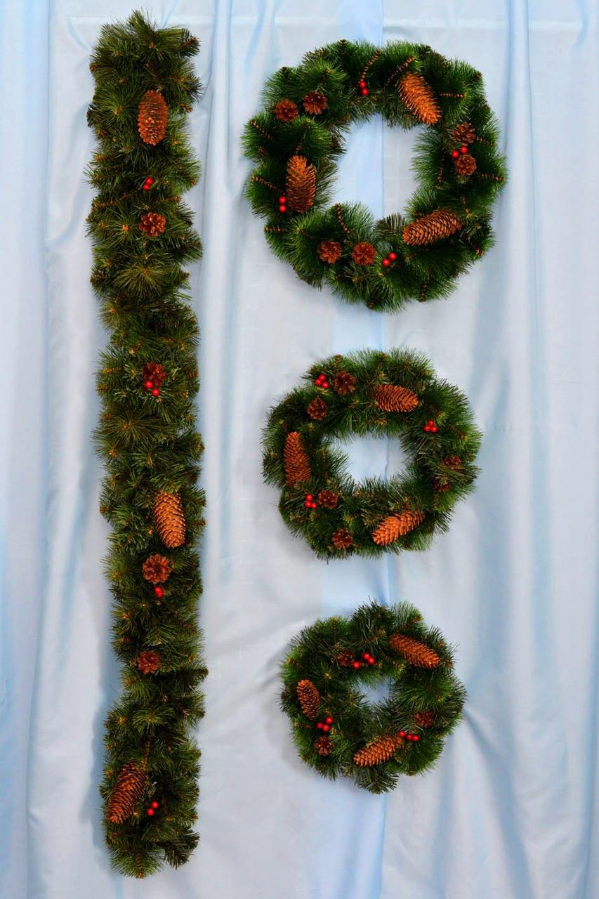 Венок новогодний на дверь Каролина микс А-16