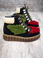 Акция!!!!!!Яркие зимние ботинки из натурального замша 36 р