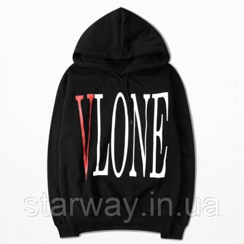 Худи чёрное Vlone logo | Толстовка стильная