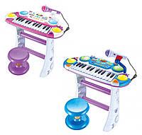 Детское пианино синтезатор Joy Toy 7235 с микрофоном Голубое Розовое