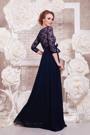feb656cd24b Длинное вечернее платье в пол с гипюровым верхом и шифоновой юбкой Марианна  д р темно
