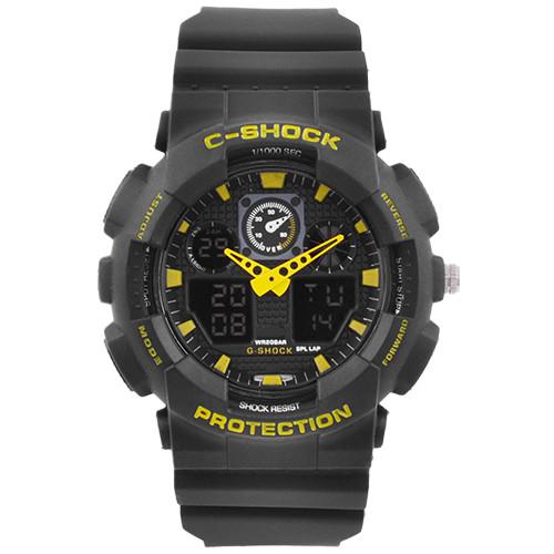 Годинники наручні C-SHOCK GA-100 Black-Yellow, Box, підсвітка 7 кольорів