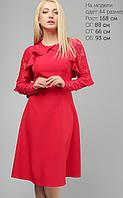 Женское расклешенное платье с гипюровыми рукавами (3147 lp)