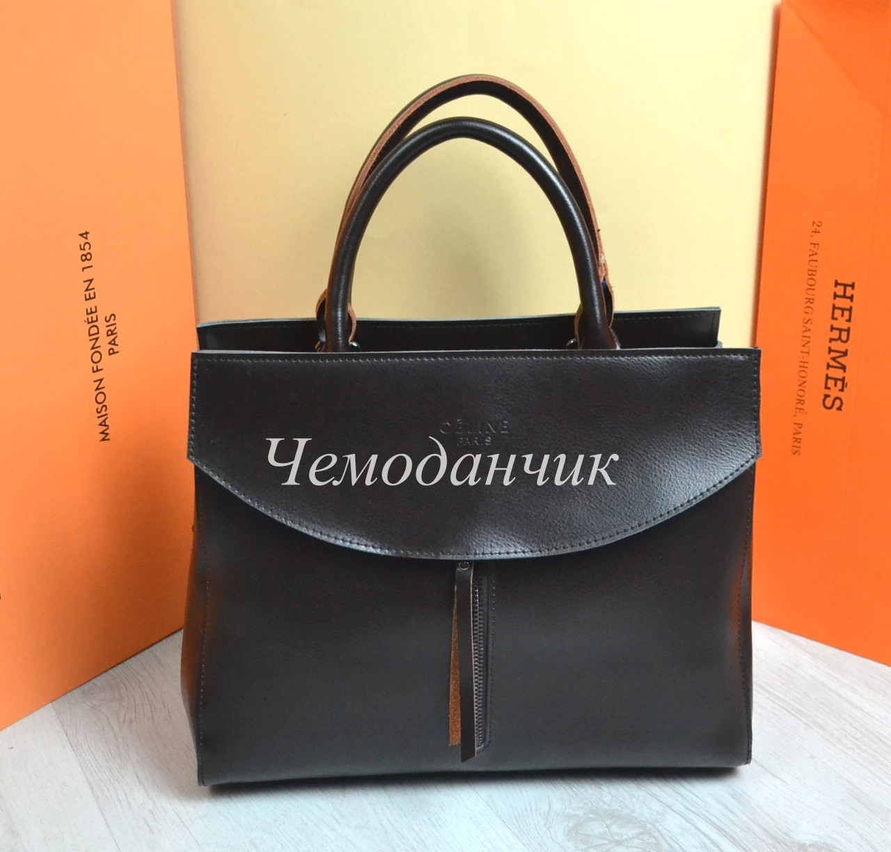 613479828202 КОЖАНАЯ СУМКА CELINE Селин кофе - ЧЕМОДАНЧИК - самые красивые сумочки по  самой приятной цене!