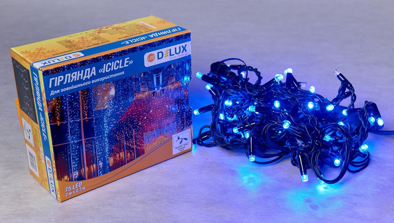 Светодиодная гирлянда DELUX Icicle 18 flash 2 х 0,7м 75LED Синий/Черный