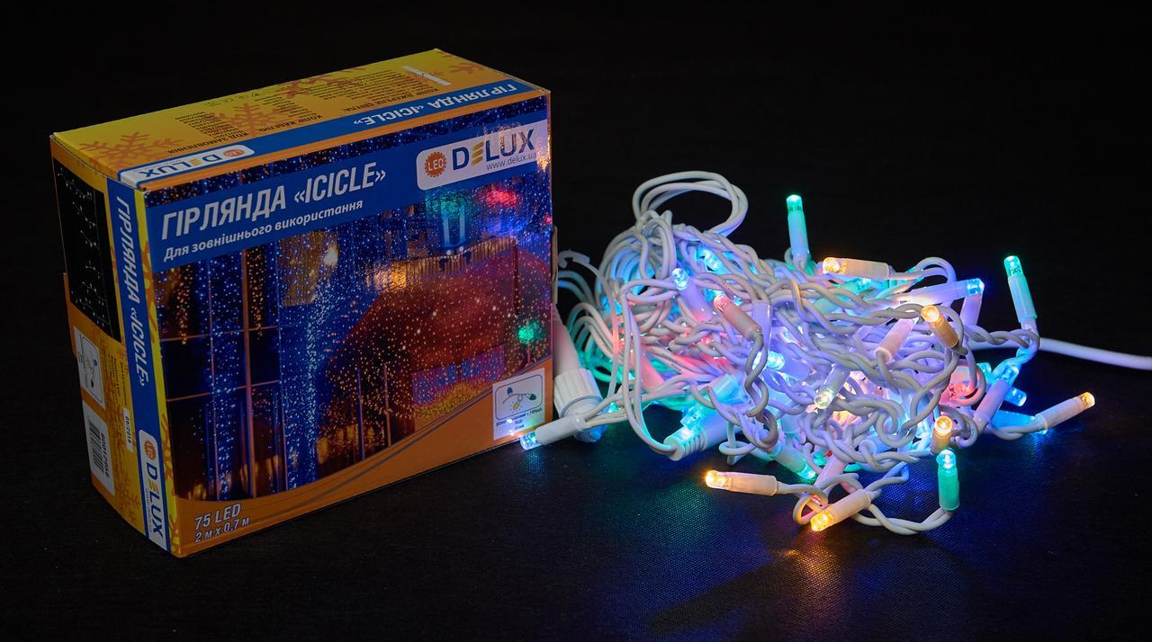 Светодиодная гирлянда DELUX Icicle 18 flash 2 х 0,7м 75LED Мульти/Белый