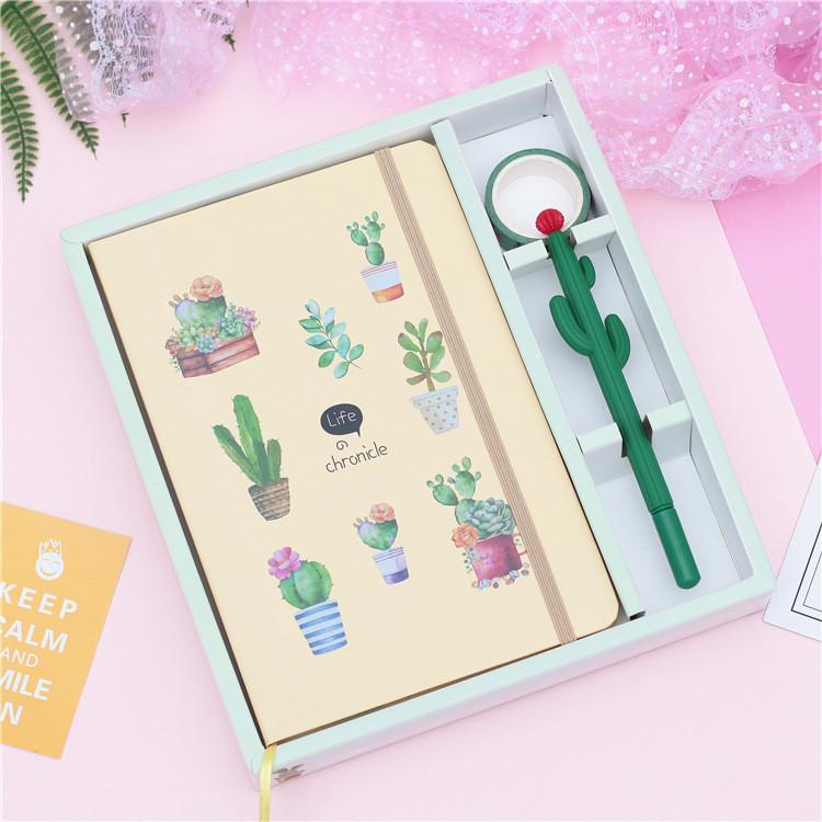 Подарочный набор блокнот с кактусами