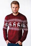 Свитер Рождественский с оленями мужской Бордовый, XL