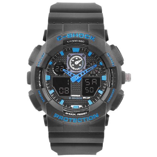 Часы наручные C-SHOCK GA-100 Black-Blue, Box, подсветка 7 цветов