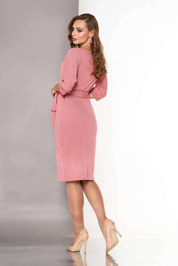 Трикотажное платье с цельнокроеным рукавом пудра, фото 2